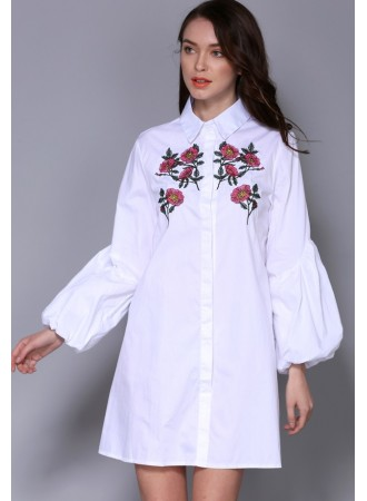 BDS03080206M Embroidery puff sleeves dress REAL PHOTO