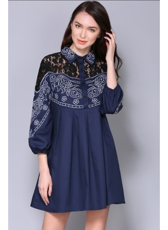 BDS03088006M Embroidery lace shoulder dress REAL PHOTO