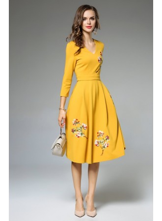 BDS03095649H Embroidery V neck midi dress REAL PHOTO