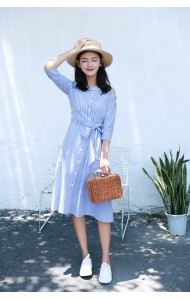 KDS03099501N Off shoulder stripes midi dress REAL PHOTO