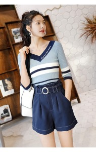 KTP03095821N V neck stripe knit blouse REAL PHOTO