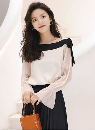 KTP03098721N Off shoulder chiffon blouse REAL PHOTO