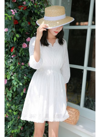 KDS03090601N Crochet embroidery puff sleeves dress REAL PHOTO