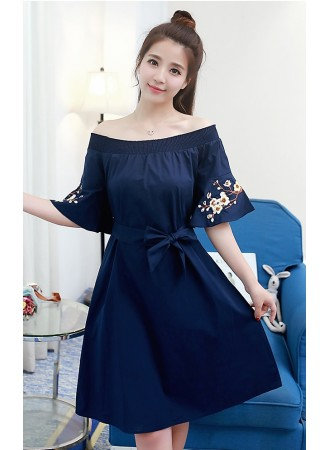 KDS12039158F Off shoulder embroidery dress REAL PHOTO
