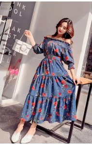 KDS03123322A Off shoulder floral maxi dress REAL PHOTO