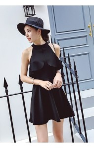 KDS03161759Y Halter neck ruffle dress REAL PHOTO