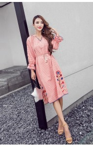 KDS03169399Q Plaid embroidery V neck dress REAL PHOTO