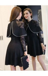 KDS03171169W Lace sleeves cape dress REAL PHOTO