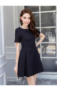 KDS0319398J Pleated button mini dress REAL PHOTO