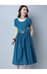 KDS03202606J Embroidery linen midi dress REAL PHOTO