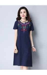 KDS03209168E Embroidery linen V neck dress REAL PHOTO