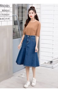 KSK03228006Y Irregular denim midi skirt REAL PHOTO