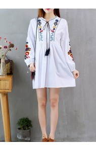 KDS03225008X Plus size embroidery puff sleeves dress REAL PHOTO