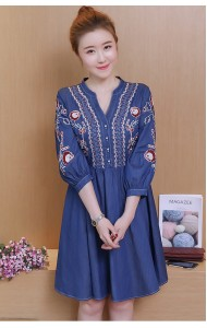 KDS03226103Y Puff sleeves embroidery soft denim dress REAL PHOTO