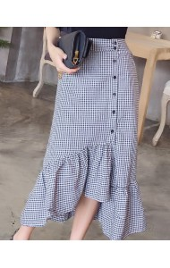 KSK03230229W Plaid irregular skirt REAL PHOTO