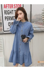KDS03243128K Lotus denim dress REAL PHOTO