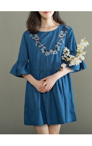KDS03243091M Trumpet embroidery soft denim dress REAL PHOTO