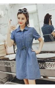 KDS03265766Y Plus denim drawstring dress REAL PHOTO