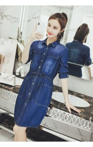 KDS03261566Y Plus denim long sleeves drawstring dress REAL PHOTO