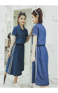 KDS03266676Y Plus denim drawstring dress REAL PHOTO