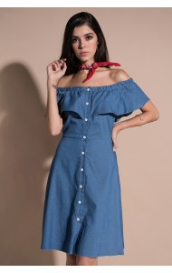 KDS0326294O Plus soft denim off shoulder dress REAL PHOTO