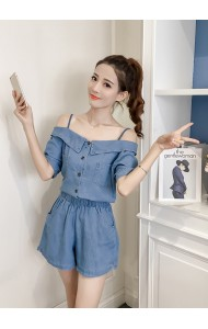 KST03272389H Off shoulder soft denim pants suit REAL PHOTO