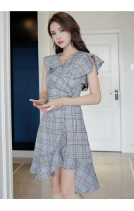 KDS03275272H Irregular plaid dress REAL PHOTO