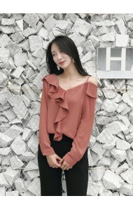 KDS0328228K Korea off shoulder ruffle blouse REAL PHOTO