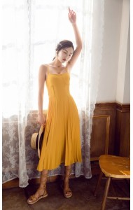 KDS03292288S Bared back strappy pleated maxi dress REAL PHOTO