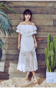KDS03299188S Off shoulder full lace mermaid dress REAL PHOTO