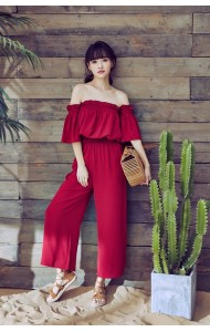KDS03298088S Off shoulder maroon pants set REAL PHOTO