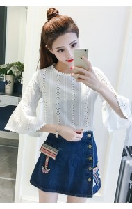 KTP0330536Y Trumpet sleeves crochet blouse REAL PHOTO