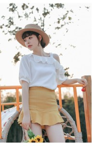 KTP0330138X Off shoulder chiffon ruffle blouse REAL PHOTO