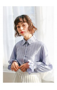 KTP0330118X Puff sleeves stripes shirt REAL PHOTO