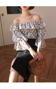 KTP03305288S Off shoulder floral ruffle blouse REAL PHOTO