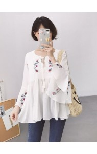 KDS04047459F Trumpet sleeves embroidery blouse REAL PHOTO