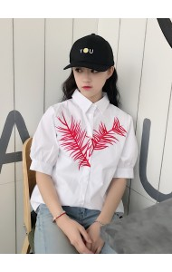 KTP04040759Y Leaf embroidery blouse REAL PHOTO