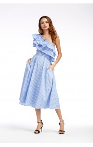 KDS04046838D Off shoulder stripes ruffle dress REAL PHOTO