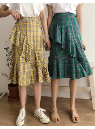 KDS04052589Y Plaid ruffle skirt REAL PHOTO