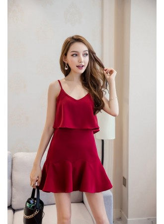 KDS04066129D Strappy fake 2 piece dress REAL PHOTO