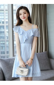 KDS04062266H Off shoulder ruffle stripes dress REAL PHOTO