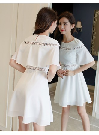 KDS04082272H Crochet cape dress in white REAL PHOTO