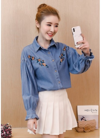 KTP04083128Y Embroidery soft denim shirt REAL PHOTO
