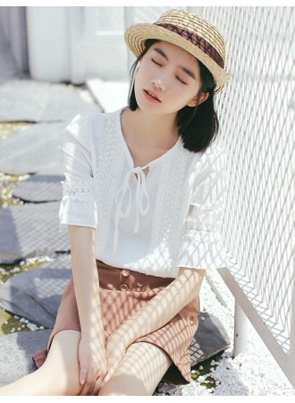 KTP04083611S Trumpet sleeves linen shirt REAL PHOTO