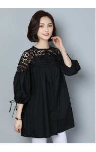 KTP04101303Y Plus size lace shoulder puff sleeves blouse REAL PHOTO