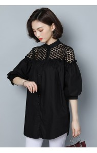 KTP04102303Y Plus size lace shoulder puff sleeves blouse REAL PHOTO