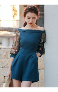 KJP04109209XA Off shoulder embroidery sleeves jumpsuit REAL PHOTO