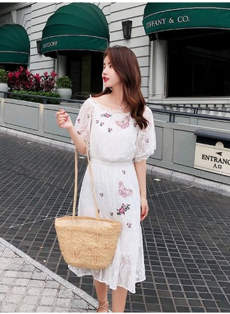 KDS04124503M Off shoulder embroidery full lace dress REAL PHOTO