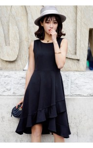 KDS04128099H Irregular ruffle dress REAL PHOTO