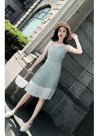KDS04137281X Pleated dress with lace trim REAL PHOTO